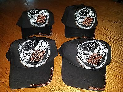 New Lot of 4 Harley Davidson 105th Anniversary Hat Motorcycle Rally Milwaukee