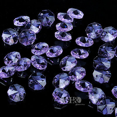 50PCS 14MM Purple Crystal Octagon Beads Chandelier Lamp Parts Wedding Decor H67
