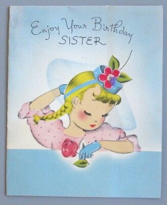 Vintage Greeting Card Birthday Cute Pretty Girl Flower Hat Norcross 1940s AS-IS
