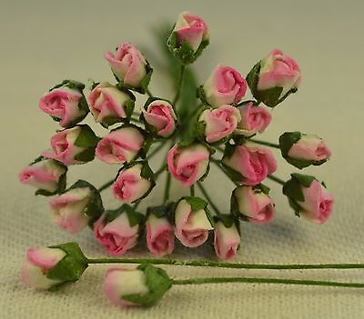 48 ROSY PINK ROSE BUDS (S) Mulberry Paper Flowers wedding miniature