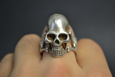 Collectible Vintage Old Tibet Silver Skull Decor Noble title Warrior beauty Ring