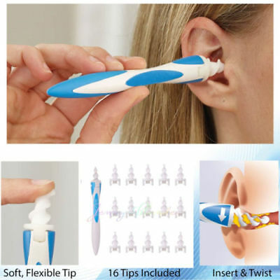 Smart Ear Wax Cleaner Soft Spiral Easy Swab Earwax Removal Safe Earpick +16Tips