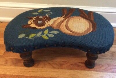 Antique wooden kidney shaped  footstool needlepoint top cat kitty Charming!
