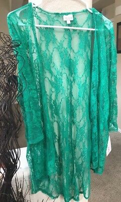NWT LulaRoe Solid Lace Lindsay Kimono Shrug Green Must Have Sz Small/S