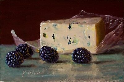 Print of food painting still life oyster grapes cheese blueberries 4x6 Y WANG