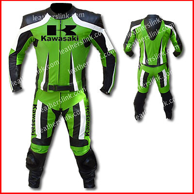Motorcycle Men Kawasaki Green Racing Leather Suit MST-140-Replica(US 44/EUR 54)