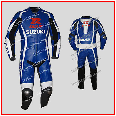 Men New Suzuki Motorbike Motorcycle Racing Leather  Suit MST-67-A (38,40,42)