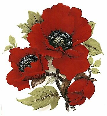 Red Poppy Flower Select-A-Size Waterslide Ceramic Decals Bx