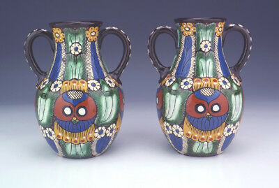 Antique Thoune Thun Swiss Majolika Stylised Owl Decorated Vases - Lovely!