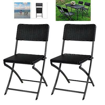 iKayaa 2PCS Rattan Portable Folding Chair Camping Picnic Kitchen Lawn Chair T1G8