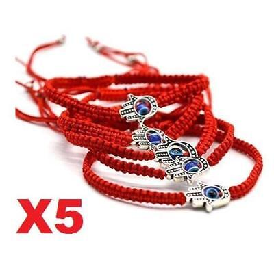 X5 Good Luck Kabbalah BRACELET Hamsa Hand of GOD Evil Eye Adjustable Red String