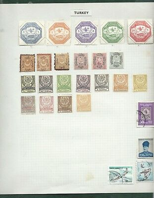 Turkey Ottoman Empire MH and used old stamps on 3 album pages Thesally Octagonal