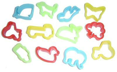 12 Childrens Plastic Play Dough Cutters Animal Shapes Pastry Doh School Home