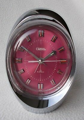 Vintage Retro 60s / 70s SPACE AGE 2 Jewel EGG Alarm Clock By CORAL ~ Working VGC