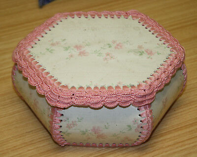 Vintage Hand Made Card Crochet Craft Box