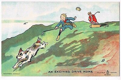 COMIC GOLF POSTCARD BY J.P.S. - AN EXCITING DRIVE HOME - 1910s
