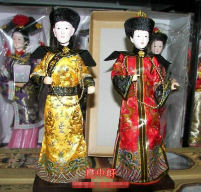 Oriental Broider Doll, Pair China Old style figurine Qing emperor empress statue