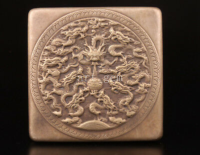 Box Rare Case Tibet Silver Buddha Carved Kowloon Vintage Collectable Old