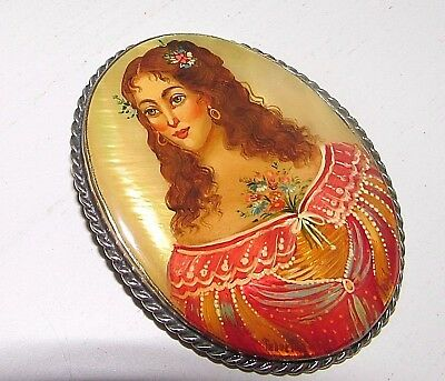 """Russian Lacquer Portrait Brooch Beautiful Lady MOP Hand Painted Signed 2"""""""