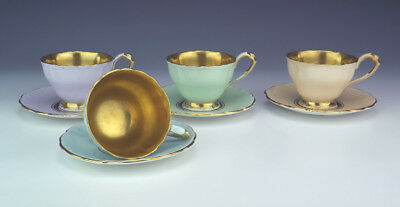 Vintage Paragon China - Harlequin Gilded Cups & Saucers - Retro 1950's
