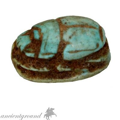 Museum Quality Circa 500-300 Bc Glazed Bead Seal Scarab