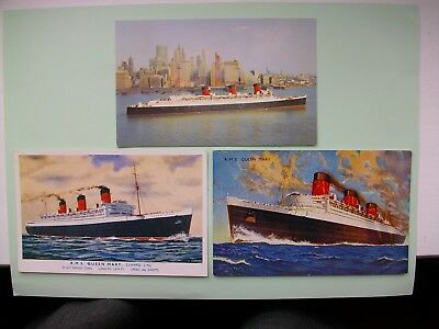 'QUEEN MARY' - 3 old postcards