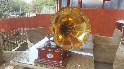 Antique Vintage HMV Tabletop  Gramophone With Horn Working With Spare Needles