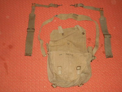 "Great Britain:'' IDIAN ARMY "" 1943  WWII Small Backpack Haversack & 2 L STRAPS"
