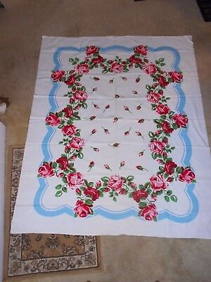 """Vintage Tablecloth Pink & Red Roses w/ Blue Border No Tag 64"""" x 53"""" Cotton"""
