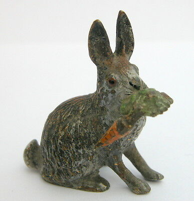 Antique Austrian Miniature cold painted Bronze Rabbit with carrot