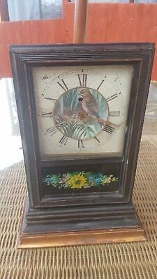 Antique Wooden Mantle Clock With Bird On Clock Face To Restore
