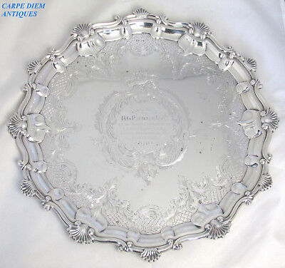 ORNATE LARGE HEAVY SOLID STERLING SILVER SALVER TRAY, 1216g, 39CM, SHEFF 1907