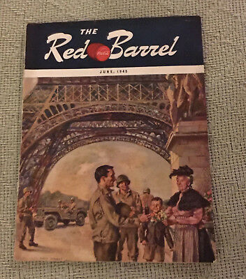 Vintage June 1945 The Red Barrel Coca-Cola Magazine Soldiers Eiffel Tower WWII
