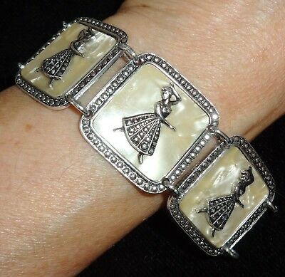 West German Vintage 1950 Dancer Dancing Girl Bracelet Marble Lucite Immaculate