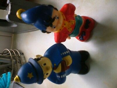 TWO LOVELY LITTLE RUBBER FIGURES OF NODDY AND PC PLOD THESE ARE 5ins TALL.