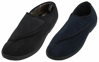 Slumberzzz Mens Easy Open & Close Corduroy Slippers