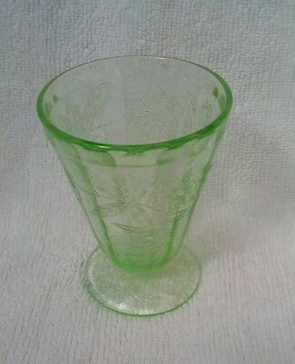 Vintage etched green glass