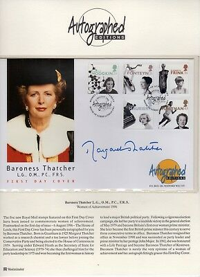 UK genuine autograph of Margaret Thatcher on a FDC dated 1996 (07)
