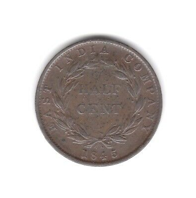 East India Co, Half-Cent coin 1845 Fine (28)