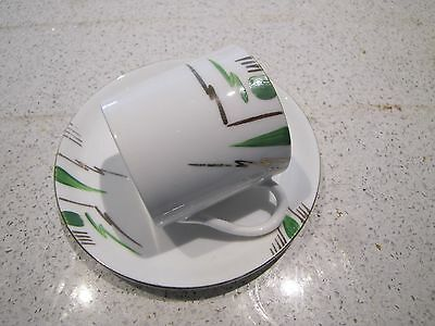 Vintage ~ Melba China ~ Coffee Cup and Saucer Green and Gold Geometric