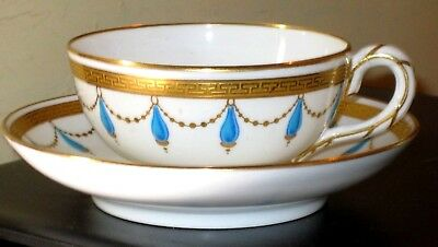 19thc Minton gilded cup and saucer with swag decoration A/F
