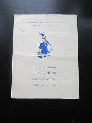 1956 Sea Scouts Order Of Divine Service Hms Victory Lord Nelson