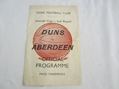 1953-54 SCOTTISH CUP 2ND ROUND  DUNS FC v ABERDEEN