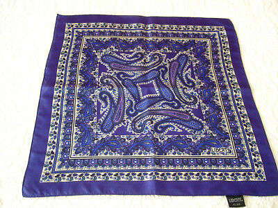 "Vintage Small LIBERTY SILK SCARF -Blue Paisley 17""sq."