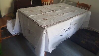 Antique Large Tablecloth-Hand Crochet Edge Size 240Cm X 180Cm