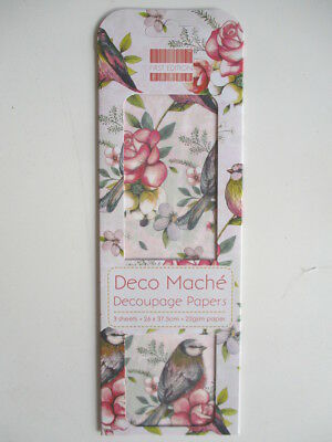 First Edition Deco Mache Decoupage Papers - Birds & Roses