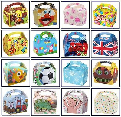 12 Kids PARTY Food Meal Lunch Gift BOXES - Range of Themes/Occasions/Patterns