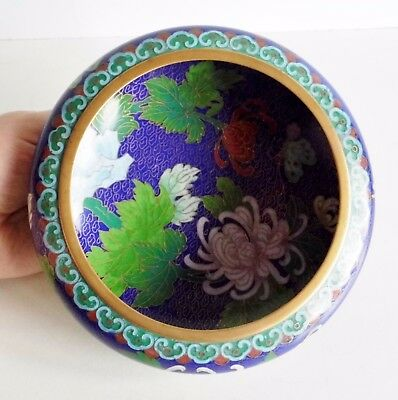Beautiful Fine Old Chinese Cloisonne Bowl - Floral Pattern - Superb Condition