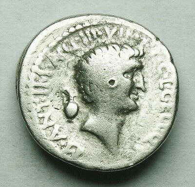 Very Rare Mark Antony With Octavian Ar Denarius (24Y)