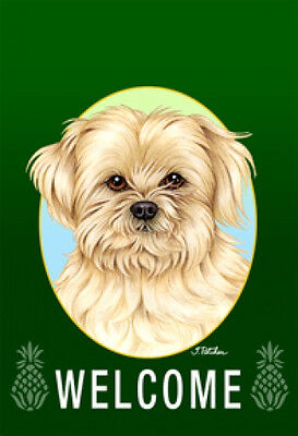 Large Indoor/Outdoor Welcome Flag (Green) - Lhasa Apso 74040